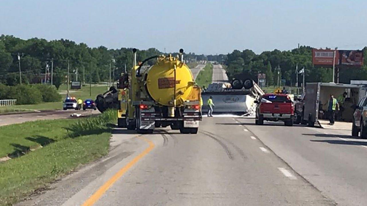 Tanker Rollover Shuts Down Highway 75 Near Okmulgee