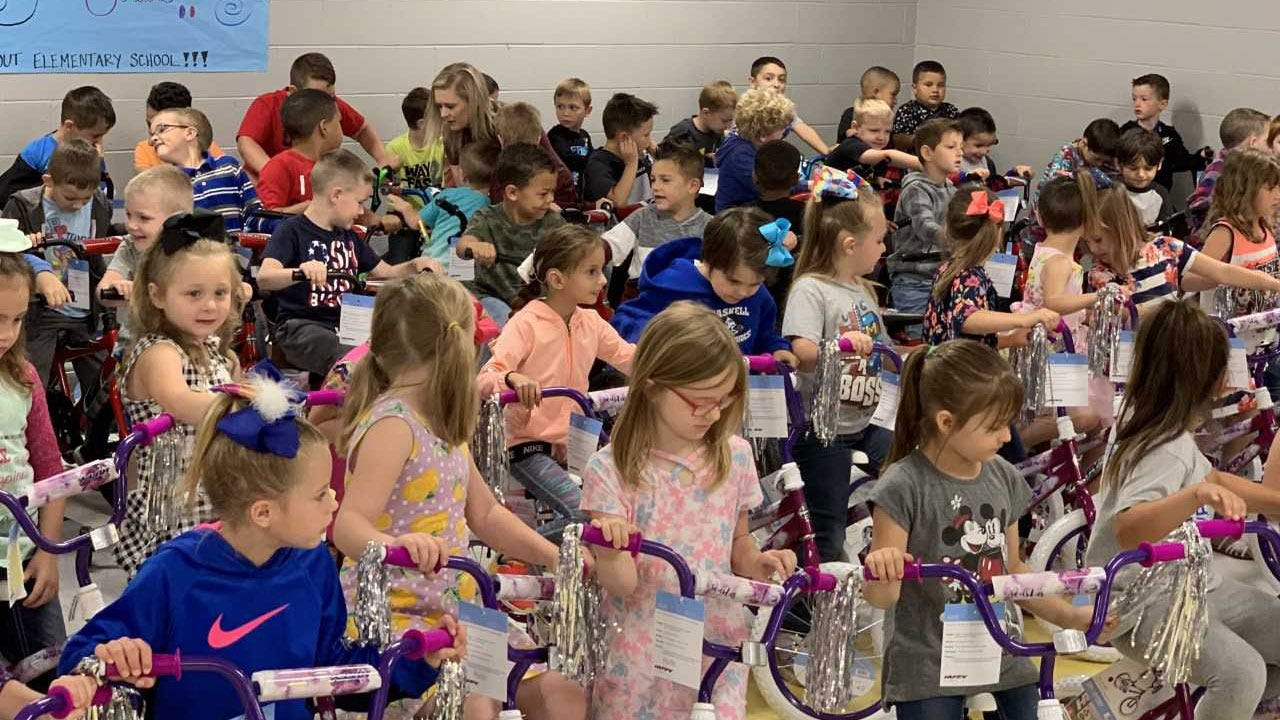 100 Bikes Donated To Haskell Elementary Students