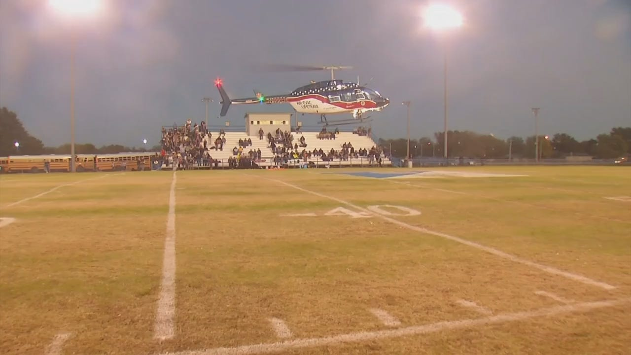 Injured Haskell Football Player Receives Tribute As Helicopter Delivers His Jersey