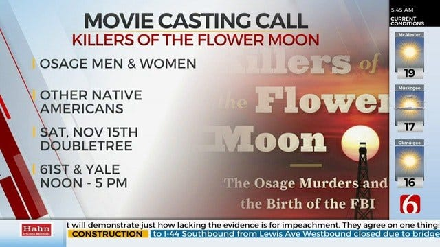 Killers Of The Flower Moon Holds Tulsa Casting Call