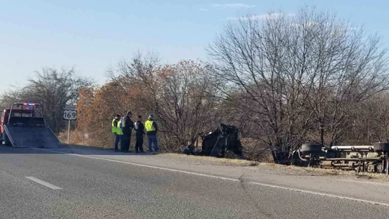 Truck With Trailer Rolls Over On Hwy 169