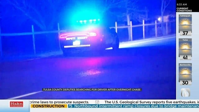Deputies Search For Possible Suspect After Creek County Chase