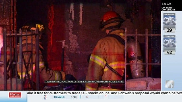2 People Hospitalized, 5 Family Pets Dead After Tulsa House Fire