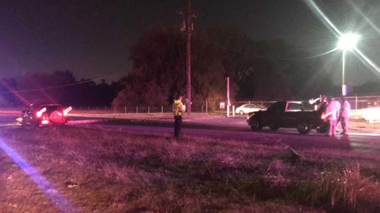 1 In Custody After Tulsa Crash Brings Down Light Pole
