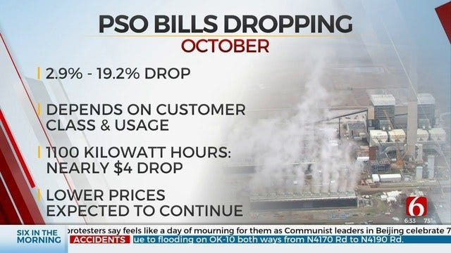 PSO Customers To See Lower Bills Starting In October