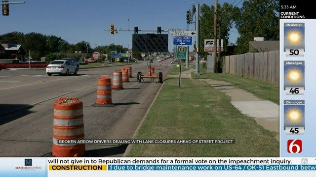 Street Project To Widen Busy Broken Arrow Street Closes Lanes, Impacts Drivers