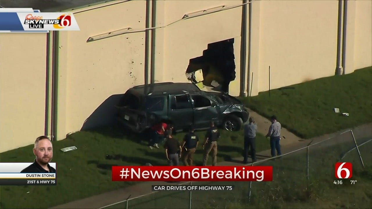 SUV Runs Off Highway 75, Crashes Into Tulsa Goodwill Store