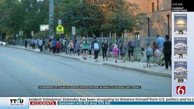 Tulsa Public Schools Take Part in International Walk To School Day