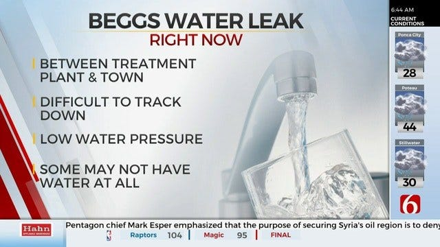 City Of Beggs Asks Residents To Conserve Water Due To Leak