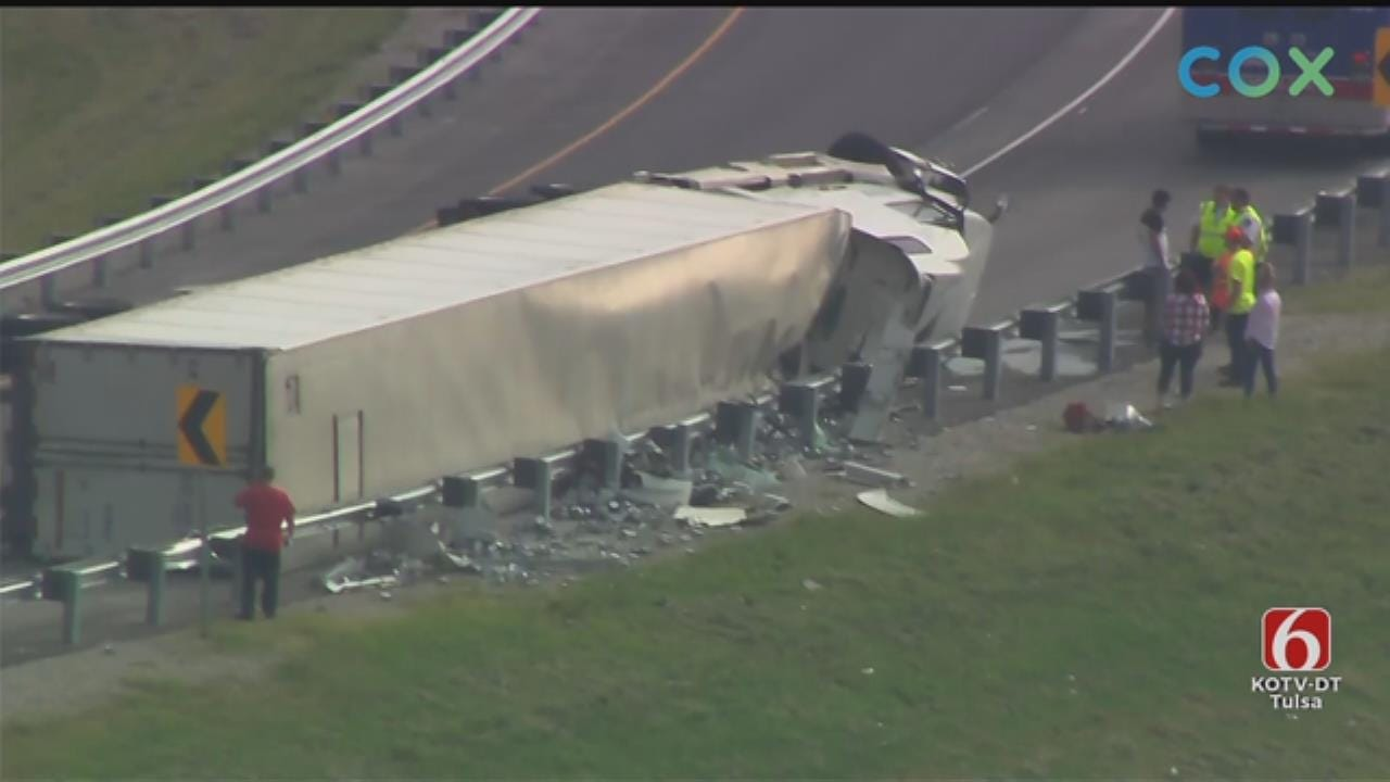 WATCH: Semi Rollover On Highway 11 Near I-244
