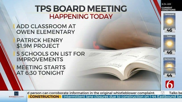 Tulsa Public Schools To Discuss Construction, Contract Work At Board Meeting