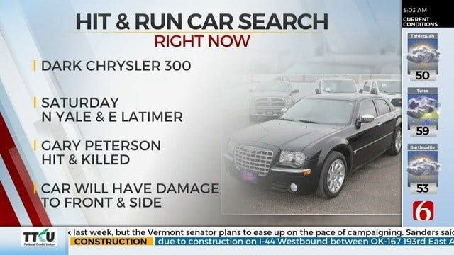 Tulsa Police Search For Car Involved In Deadly Hit-And-Run
