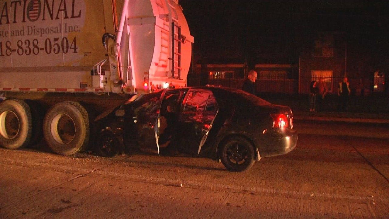 Driver Suffers Minor Injuries After Rear-Ending Garbage Truck In Tulsa