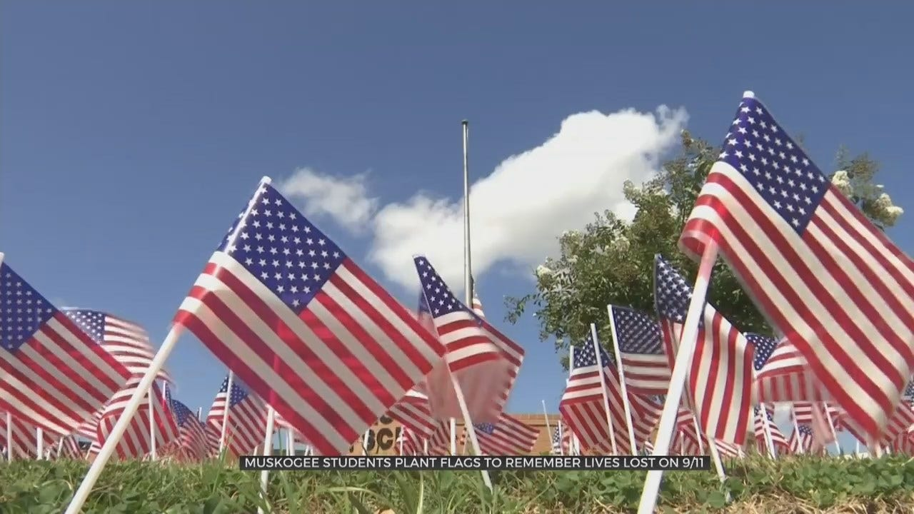 Muskogee High School Students Plant Flags On Campus Lawn To Honor Lives Lost On 9/11