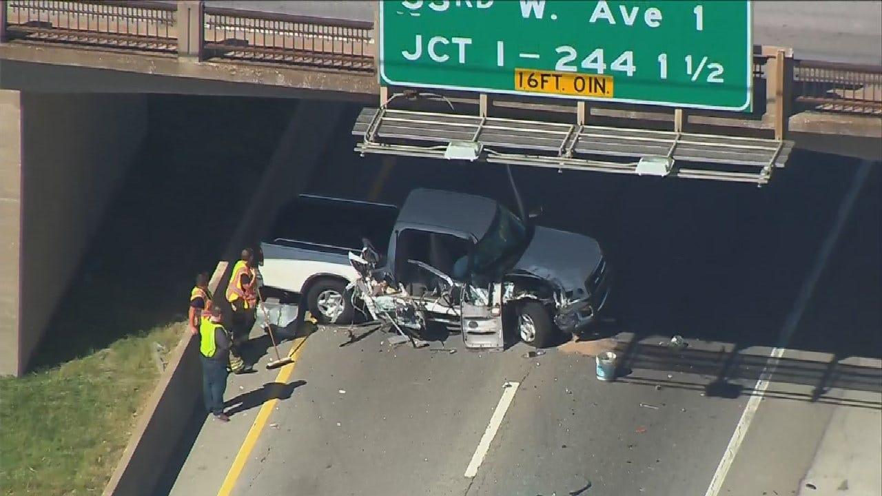 WATCH: Semi Crash Blocks Westbound Lanes On I-44