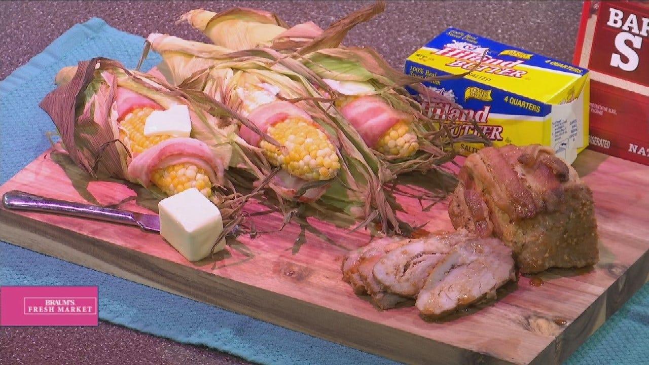 Bacon-Wrapped Roasted Corn On The Cob & Bacon-Wrapped Pork Roast