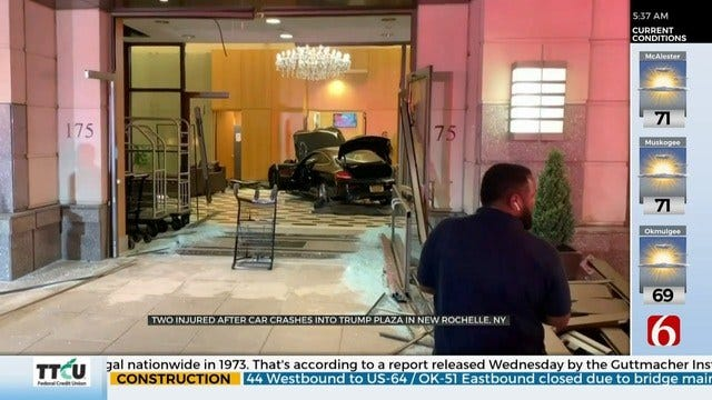 Car Crashes Through Lobby At Trump Plaza In Westchester, New York