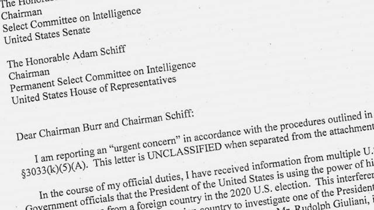 House Intelligence Committee Releases Redacted Version Of A Whistleblower Complaint