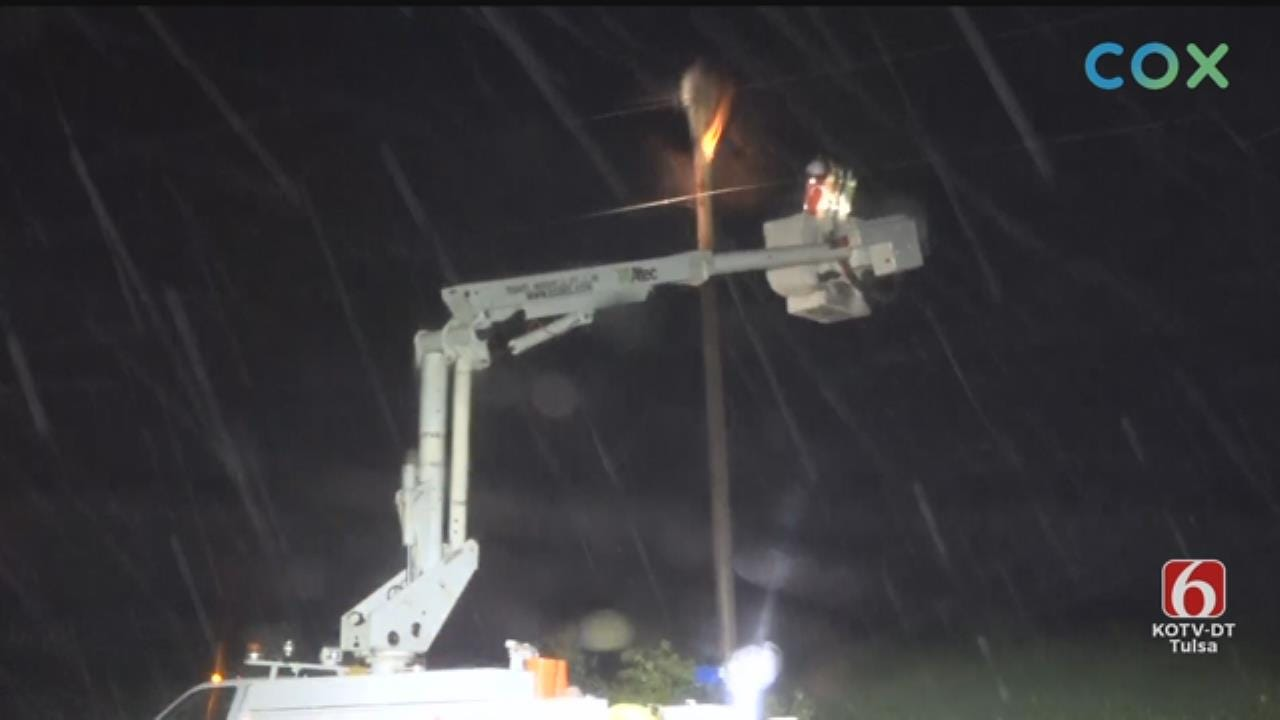WATCH: News On 6 Storm Tracker Darren Stephens Finds Power Pole On Fire In Haskell Area