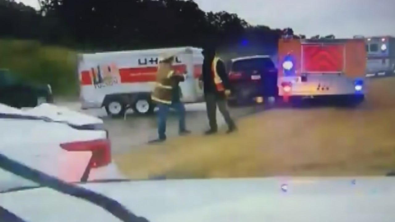 Dashcam Shows Driver Slide Straight Into Stringtown Firefighters