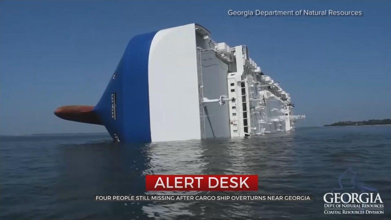 Coast Guard Rescues 3 Crewmen From Capsized Ship