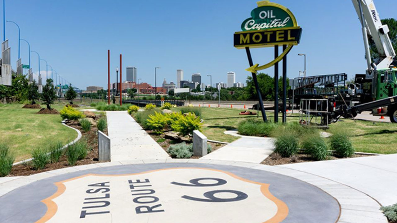 Route 66 Replica Neon Sign Installed At Avery Plaza