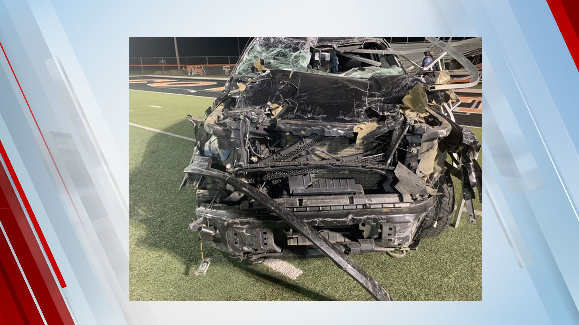 Driver Arrested On DUI Complaint After Truck Goes Airborne, Lands On Football Field