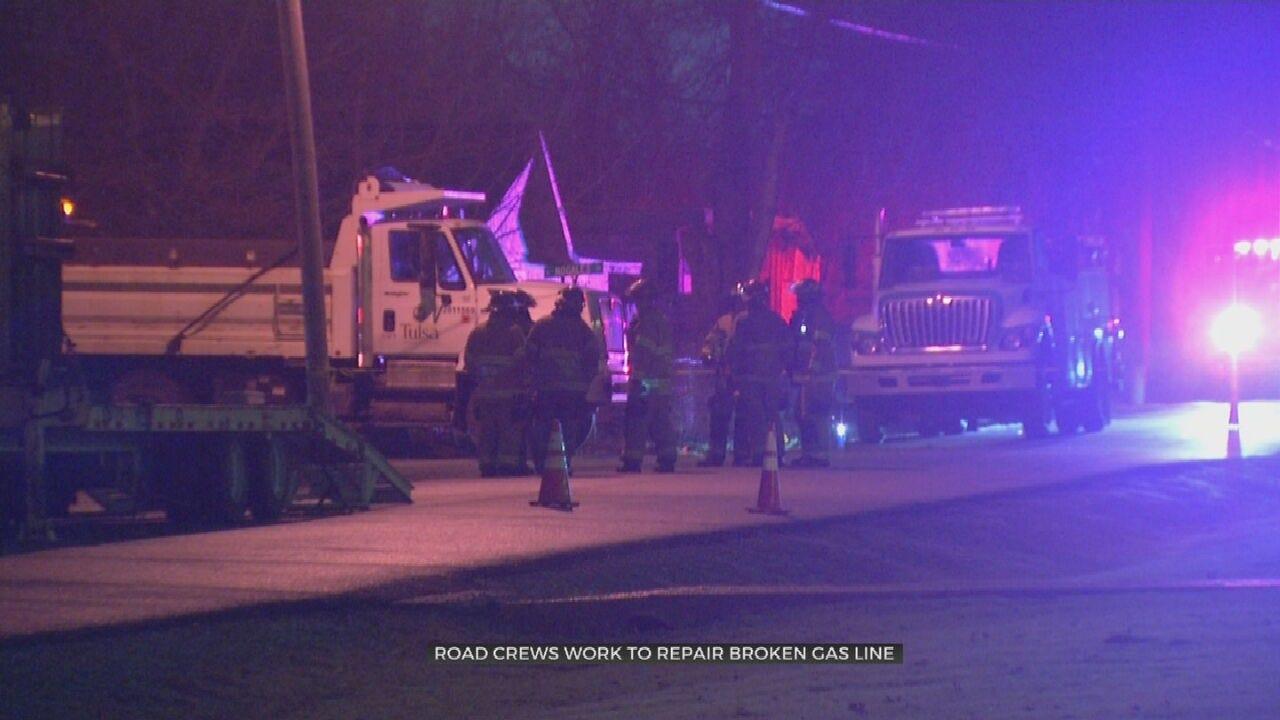 Road Crews Work To Repair Broken Gas Line In Tulsa Neighborhood