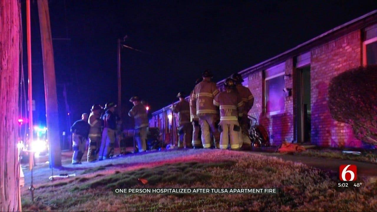 Emergency Crews: Tulsa Apartment Fire Gives Man Serious Injuries