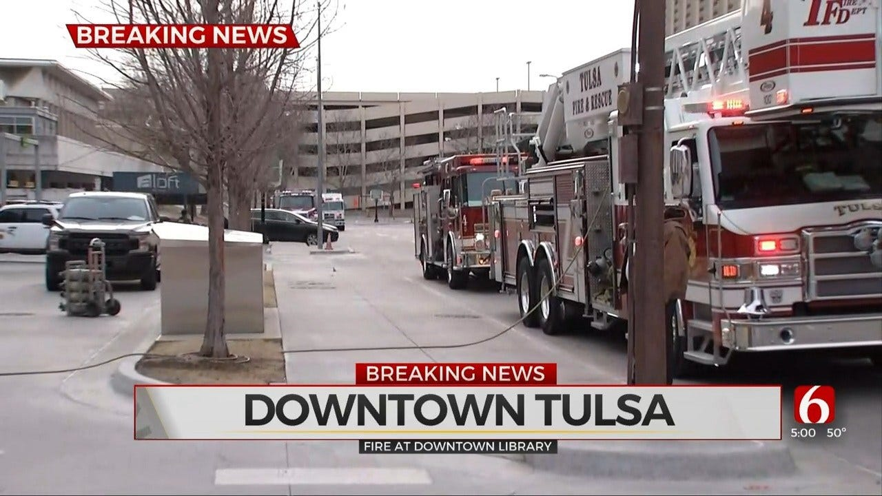 Emergency Crews Respond To Downtown Tulsa Library Fire