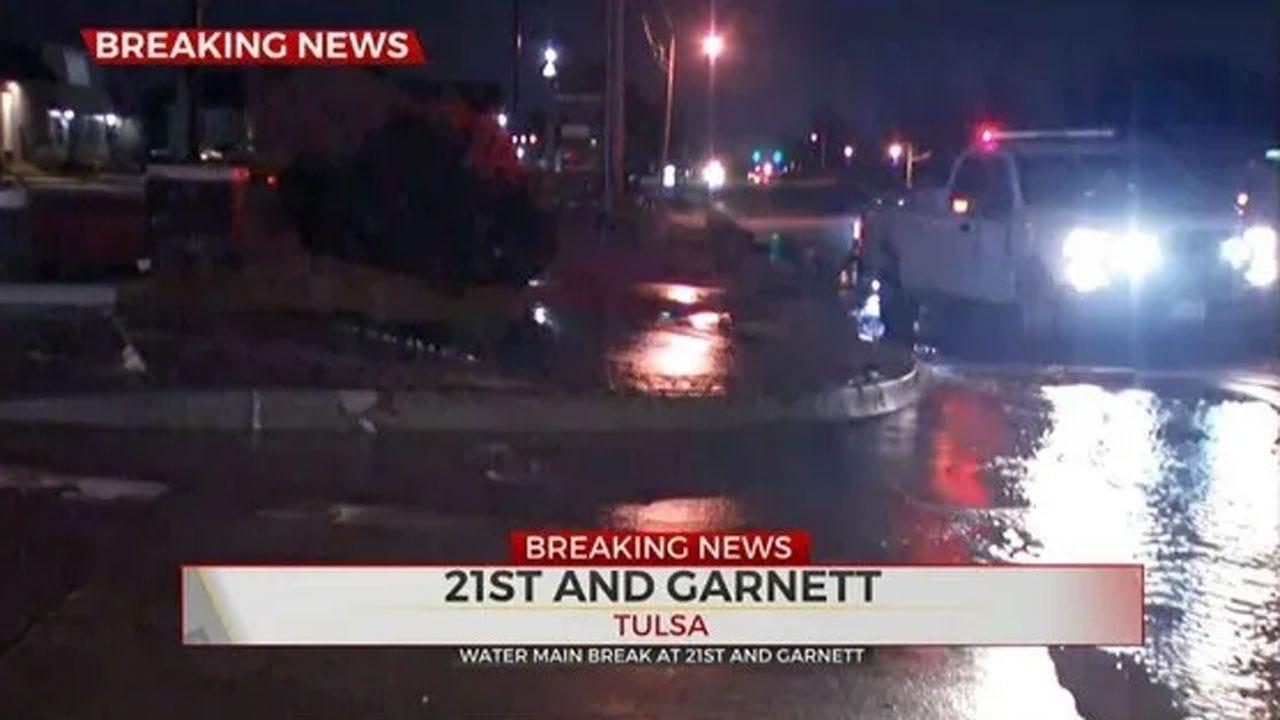 Crews Respond To Water Main Break Near 21st And Garnett