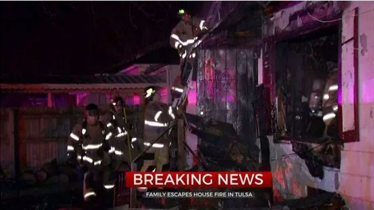 Family Safely Escapes Overnight House Fire In Tulsa
