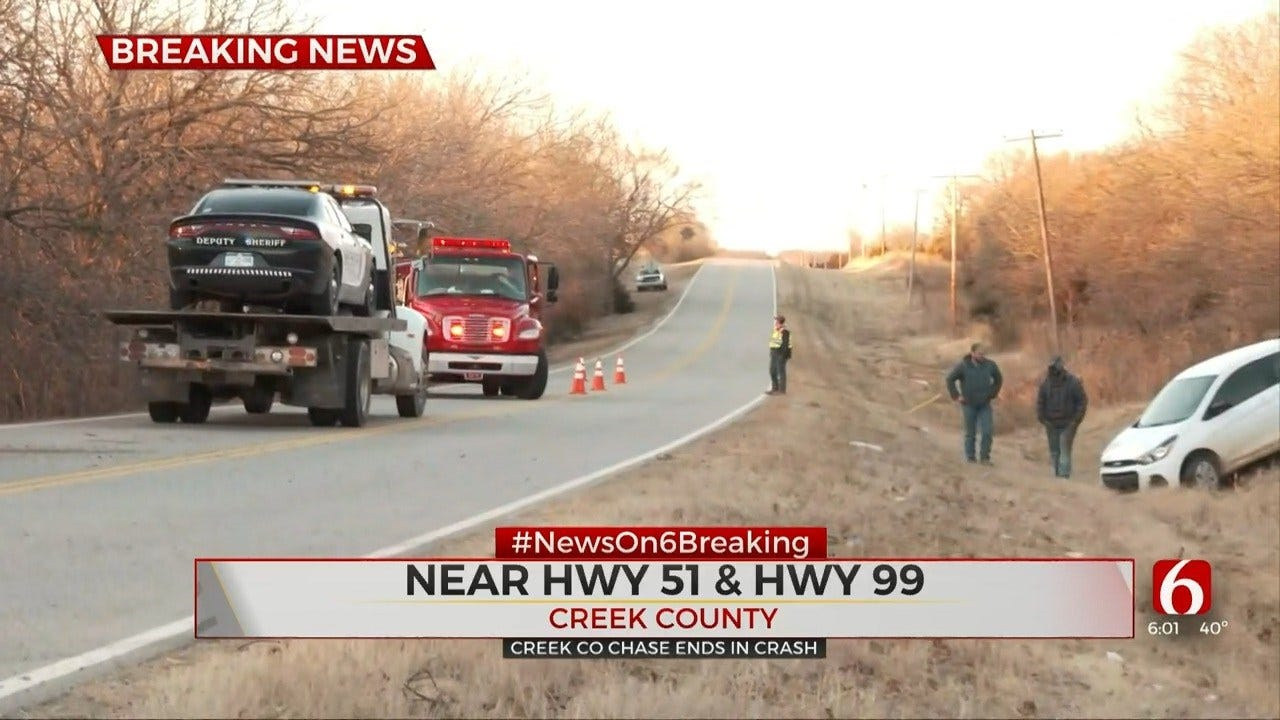 Creek Co. Deputies: Shots Fired During Chase That Ends In Crash