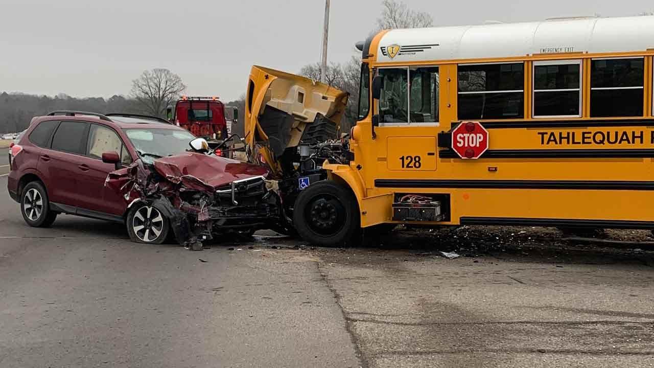 No Children Harmed After Sleepy Driver Slams Into Tahlequah School Bus