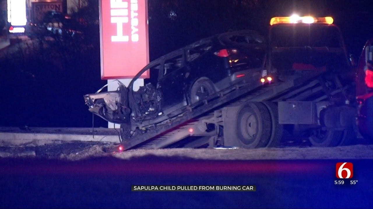 Fiery Car Crash Leaves 1 Dead, 2 Year Old Injured In Sapulpa