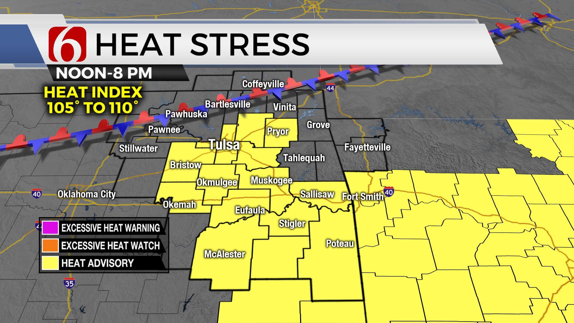 Few Storms, Heat Advisory For Thursday