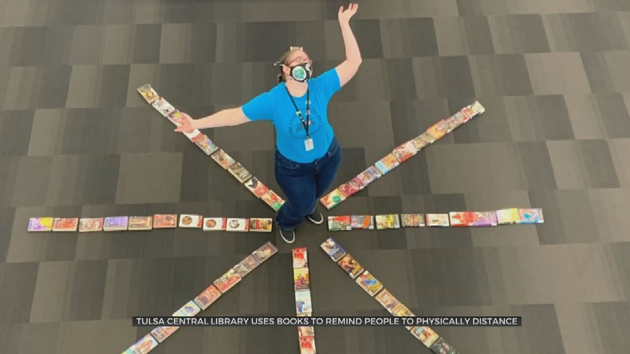 Tulsa City-County Librarians practice physical distancing.