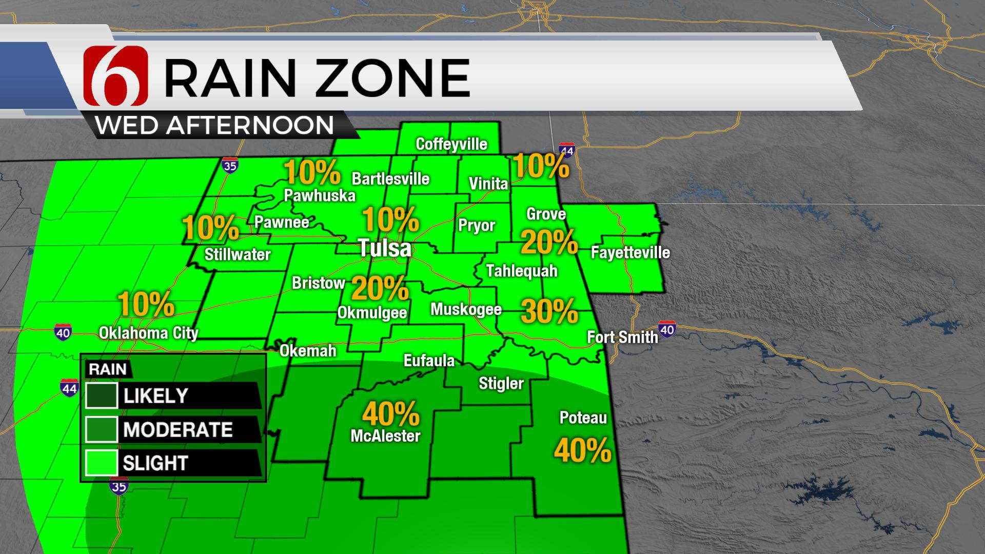 Lower Heat Continues With Few Showers For Wednesday