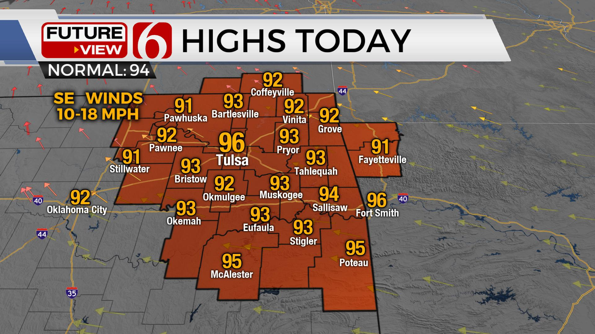 Highs for Friday