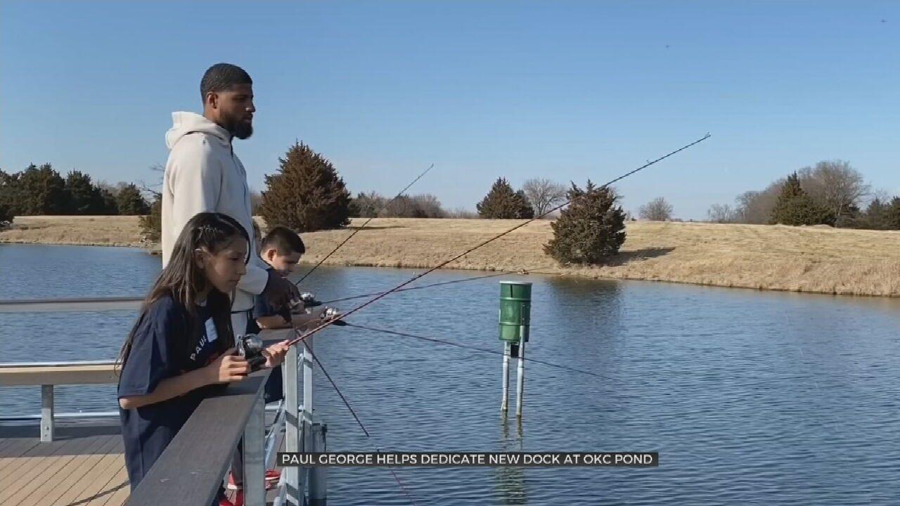 Former Thunder Star Paul George Dedicates Fishing Dock For OKC Pond