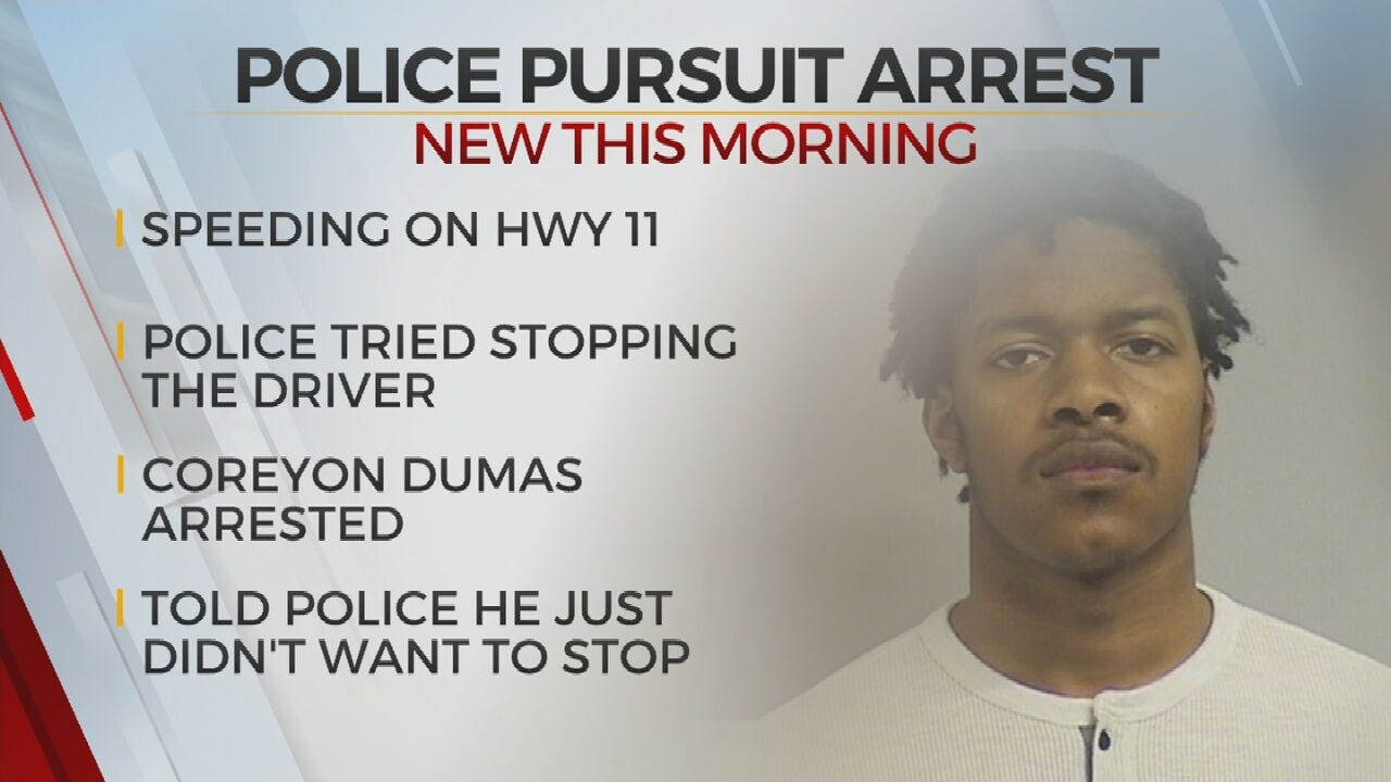 Man Arrested After High-Speed Chase, Tulsa Police Say