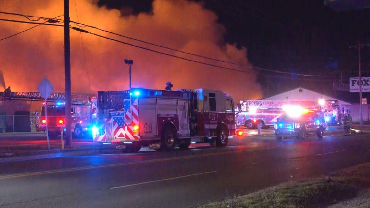 Large Fire Leaves Oklahoma City Lumber Yard Devastated