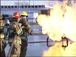 Del City firefighters practice skills