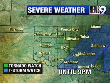 Severe Thunderstorm Watch until 9 p.m. Tuesday