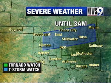 Severe weather rolls into Oklahoma