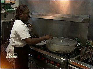 Angel in an apron feeds needy