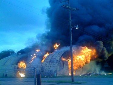 Authorities say 3 juveniles set fire to school barn