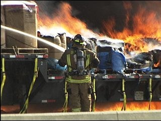 I-40 west of metro reopens after tractor-trailer rig fire