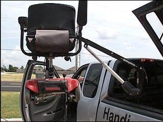 Man receives wheelchair lift assistance