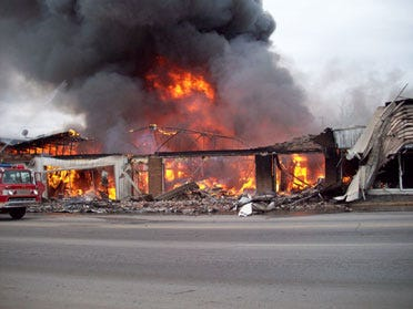 Bristow Ford Dealership Up in Flames